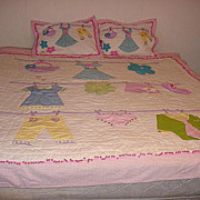 "Adorable bright fun unique Vintage 70""s Girls room Quilt and pillowcase set"