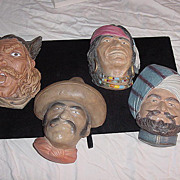 Vintage  Bossons  LTD Chalk ware Character Head Wall Mask collection of 4  Viking, Indian, Cow