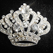 Large vintage clear rhinestone Crown brooch pin