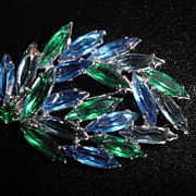 Signed vintage blue and green rhinestone brooch pin czechoslovakia