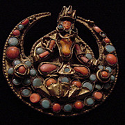 Shiva antique Primitive Tibetan Coral Turquoise colorful c clasp 1800s brooch pin