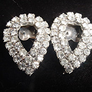 Tear drop clear rhinestone vintage shoe clips