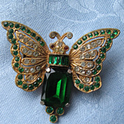Vintage large Green Rhinestone Body Butterfly Pave Brooch pin very well made