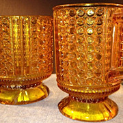 SALE Amber Moulded glass Pedestal Cream Pitcher and Sugar Bowl