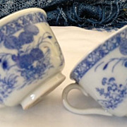 SALE Asian porcelain tea cups (2) blue and white 1-3/4 inches tall