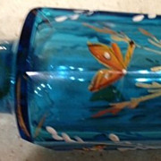 "Blue Bohemian style bottle w/stopper 3-1/2"" tall"