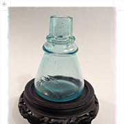Blue Glass Ink Bottle-Antique Ca: 1870-1890