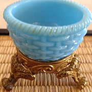 SALE Blue Milk Glass Trinket Bowl w/stand - antique