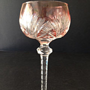 Bohemian Cranberry Flashed Hock Wine Glass