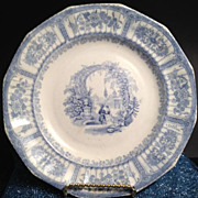 Blue & White Antique Bower Plate - early 1800's