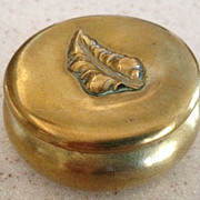 SALE Brass antique hinged box with raised leaf on top 1-3/4&quot; diameter