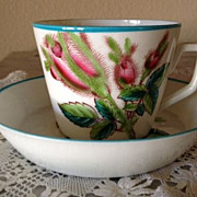 Cactus Cup & Saucer - red, pink, green, blue flowers