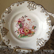 SALE Cake Plates (3) Antique - White with Floral and Gold Decorations - 1800's