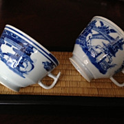 SOLD Chinese Canton teacups (2) blue & white