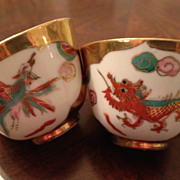 SALE Chinese Tea Cups/Bowls (2) White & Gold Dragon/Bird