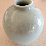 "Chinese celadon vase with lovely bamboo/floral designs-4"" tall"
