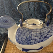 SALE Chinese hand painted porcelain duck teapot -blue & white