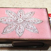 SALE Copper w/pink match box holder - antique