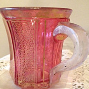 SALE Bohemian Faceted Gilt Decorated Ruby Glass Mug - 1840-1860