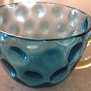 Cup (punch) -glass blue colored  inverted thumbprint pattern - antique