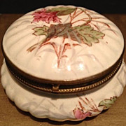 SALE Dresser Box -Depose Paris  Porcelain Round w/ Ribbed Edges-Pink Flowers & Green Leaves-An