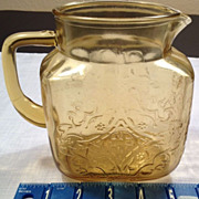 SOLD Amber Colored Pitcher Depression Glass