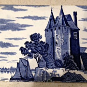 Dutch Ceramic Tile - Antique - Blue & White Castle w/water