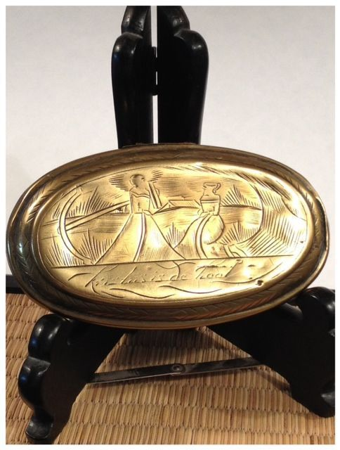 Dutch Oval Snuff Box With Hinged Lid/Top Engraved-Ca: 1790's