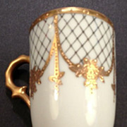 French porcelain pedestal cabinet cup with gilt lattice decoration-1880
