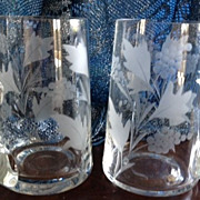 Frosted & etched floral glasses (2) 5-1/4 inches tall