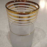 "Frosted and gold striped glass 4-1/4"" tall"