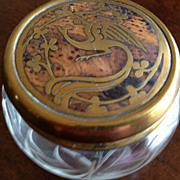 SALE Glass Etched Dresser Box w/Brass Bird Design Lid