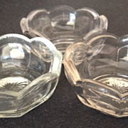 SALE Glass antique (3) octagon shape salt cellars - 1&quot; high