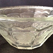 "SALE Glass bowl - small 2"" high - antique/pattern of flowers & leaves"