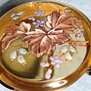 SALE Bohemian Colored Glass & Enamel  Dresser Box - Ca: 1900-1910