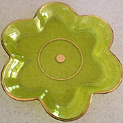 "SALE Green with gold trim glass plate/dish-6 sided - 8-1/2"" wide"
