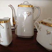 SALE Haviland Limoges Coffee Pot Set - Coffee Pot, Creamer, Sugar - ca:1875