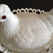 Hen in Lattice basket with red glass eyes - white milk glass antique