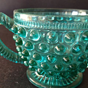 Hobnail antique blue colored  glass punch cup with rolled handle design