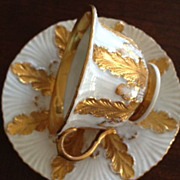 SOLD Meissen Cup & Saucer/1890 - White and Gold