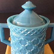 "Opaque Blue ""Diapered Flower"" mustard of condiment container -1800's"
