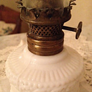 White Milk Glass Miniature Antique Oil Lamp/Night Light
