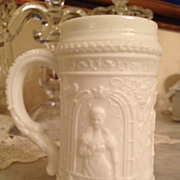 Milk Glass Antique Mug or Stein - Depicting Social Gathering