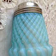 SALE Blue opalescent chrysanthemum base swirl pattern sugar shaker-1800's