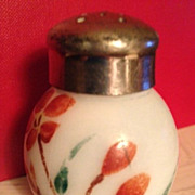 Opaque Pale Green/White Shaker with Orange Flowers  - Ca: 1890's