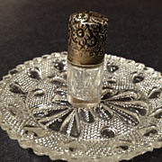 "Perfume Small Bottle Antique - Sterling Silver Engraved Lid - 1-1/4"" tall"
