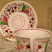 Pink Luster Cup & Saucer-white with yellow,red,pink&green berries & flowers-1850's
