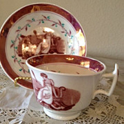 Purple or Violet Luster Cup & Saucer - Picture of Woman with Small Child - 1800's