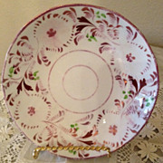 Pink Luster cup plate - white with variety of pinks & green leaves 1850's