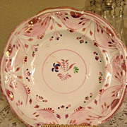 Pink Luster Cup Plate - Various pinks and blue flowers w/green leaves-1850